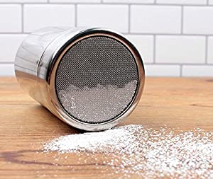 iCoffee Sugar Shaker Big Size 10oz 18/10 Stainless Steel Powder Shakers, Mesh Shaker Cinnamon Powder,Salt Shaker,Coco Shaker, Chocolate Shaker,Dredge Shaker