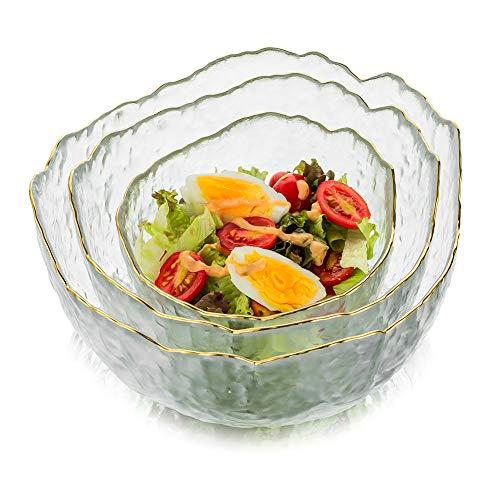 Glass Salad Bowl Set of 3 Transparent Serving Bowl Pyrex Prep Bowls All Purpose Serving Bowl Great for Soup Salad Popcorn Snack Fruit Pasta Oatmeal