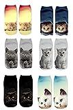 Donne Ragazze Cute Cat 6PC Stampa calze sportive calza calzatura calzini