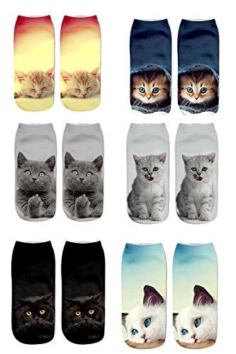 Meiping Frauen Mädchen Nette Katze 6 STÜCK Drucken Socken Sport Strumpf Schuhe Söckchen