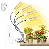 Derlights Led Grow Light, Four Head 288LEDs Plant Light Full Spectrum for Indoor Plants Garden Hydroponics Succulent, Plant Grow Lamp with 3 6 12H Timer, 4 Switch Modes,6 Brightness Settings