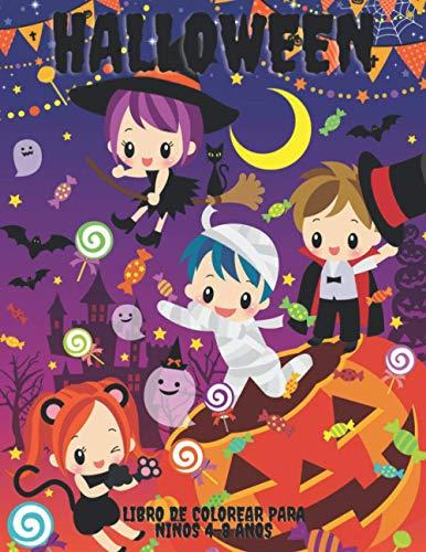 Halloween Libro de Colorear Para Niños 4-8 años: Libro para colorear en Halloween | 60 dibujos para ser coloreados | Lindas páginas de miedo como fantasmas, ... Regalo original para niños y niñas