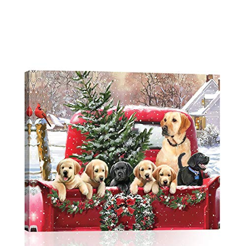 """BLIOWL Christmas Dog Canvas Wall Art for Bedroom, Dog with Christmas Tree Wreath Behind Red Truck Christmas Themed Picture Canvas Framed Wall Deocr for Living Room Kitchen Ready to Hang 12""""x16"""""""
