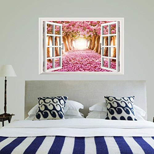 Vovotrade 3D Fenêtre Cherry Blossom Arbre Art Home Decor Autocollant Mural Stickers muraux
