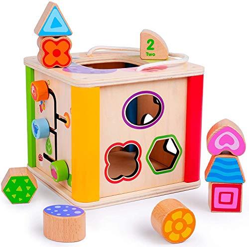 Rolimate Motorikwürfel Holzspielzeug Activity Erlebnis Spielcenter für Babies, Sortier Stapel Steckspielzeug Montessori Lernspielzeug Sortierblock Schiebespiel Geburtstag Spielzeug ab 1 2 3+ Jahre