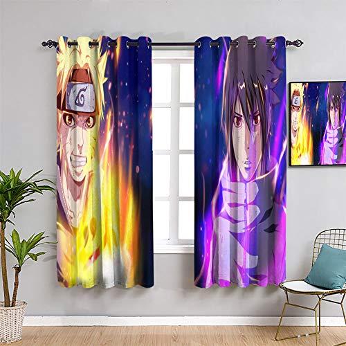 Total Blackout Window Curtains Naruto Uzumaki Kids Decor Patterned Curtains Window Curtain Drape W55 x L45
