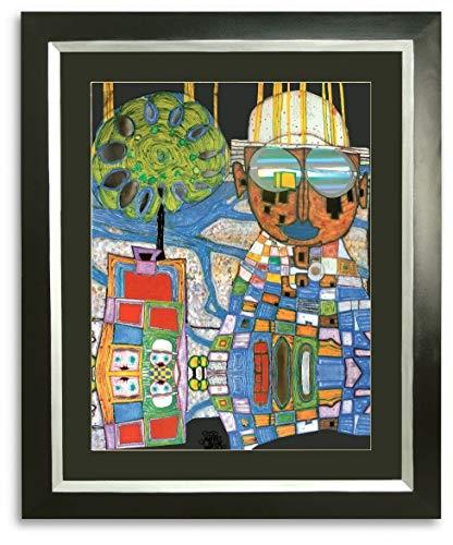 Kunstdruck Bild Hundertwasser Tropenchinese mit Rahmen 91 x 78 cm ++ SALE ++