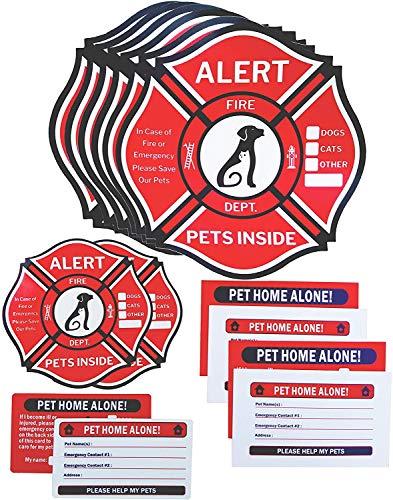 Pet Alert Sticker, Double-Sided 8 Decals&4 Wallet Cards&2 Key Tags Emergency Kit, Rescue Pet Decals, Pet Alert Stickers for House Home Window Pet Door-Emergency Pet Kit, UV Resistant-Waterproof