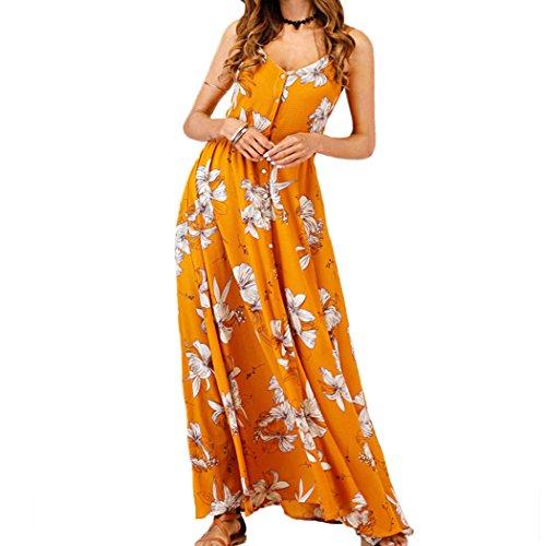 xzbailisha Women's Casual Beach Spaghetti Strap V Neck Button Maxi Dress