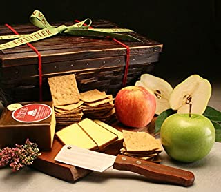 Vermont Cheddar Gift Basket: Delicious Aged Cheddar Cheese, Crisp Organic Wheat Crackers, 3 Fresh Seasonal Fruits & 1 Bonus Cheese Knife, All in Our Keepsake Bamboo Hamper by Manhattan Fruitier