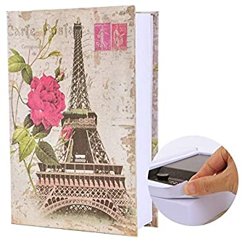 KYODOLED Real Pages Book Safe with Combination Lock Dictionary Diversion Safe Book,Secret Lock Box,Money Hidden Box,9.5  x 6.1  x 2 .2  Paris Large