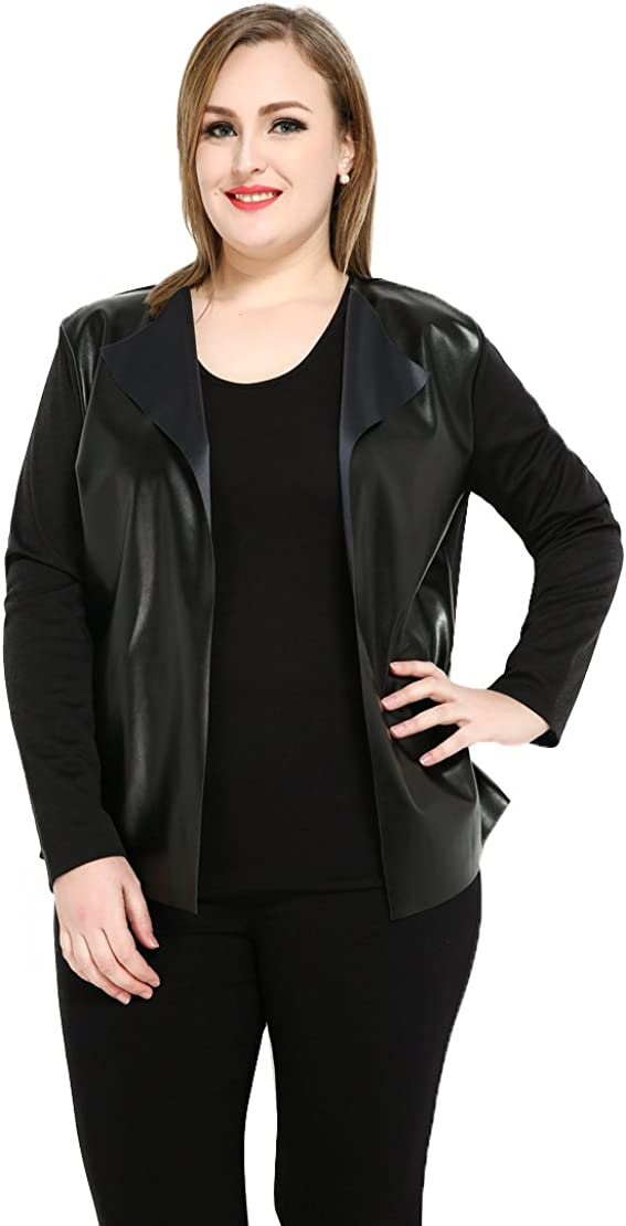 Cute Ann Women's Sexy Long Sleeve Open Fornt Plus Size Faux Leather Duster Cardigan Sweaters