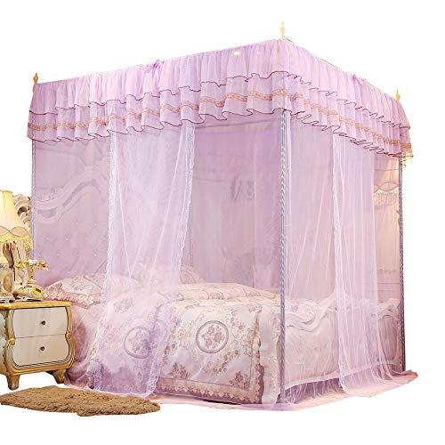 Caredy Myggnät, lyxigt myggnät för sänghimmel extra stor prinsessa fyrhörnig sängstolpe gardin baldakinnät (S)