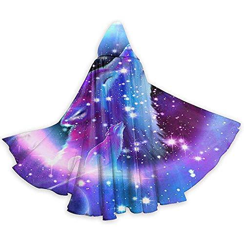 KDU Mode Heks Mantel,Unisex Geest Van De Lone Wolf Kerstmis Halloween Heks Party Hooded Volwassen Vampiers Bruiloft Cape Mantel Zwart 40X150Cm