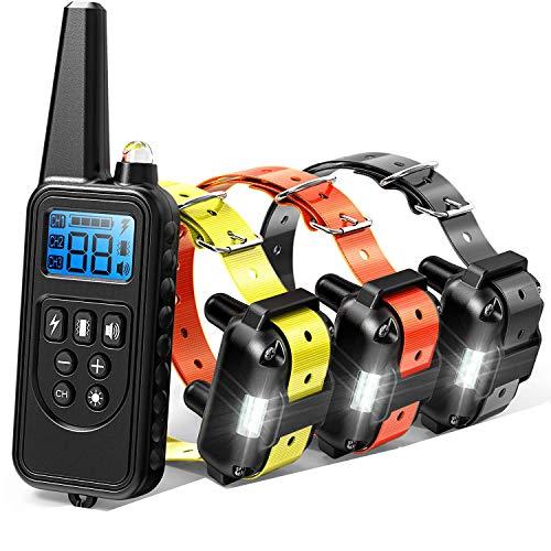 Collar adiestramiento perros con Control a Distancia 800 Metros 3 collares Recargable...