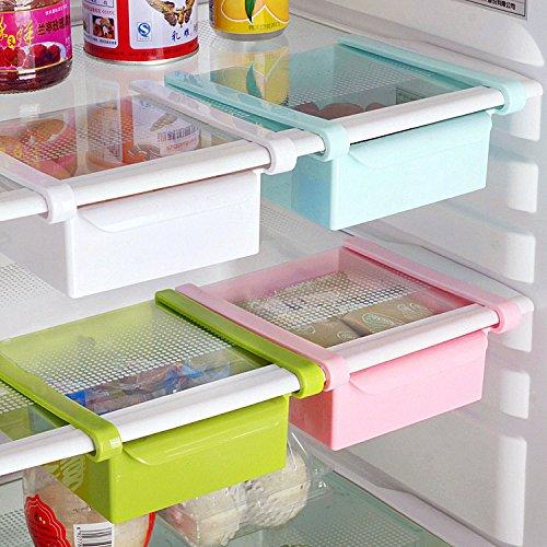 Bluelover Cocina Plástico Nevera Nevera Rack de almacenamiento Congelador Estante Holder Cocina Organización Azul