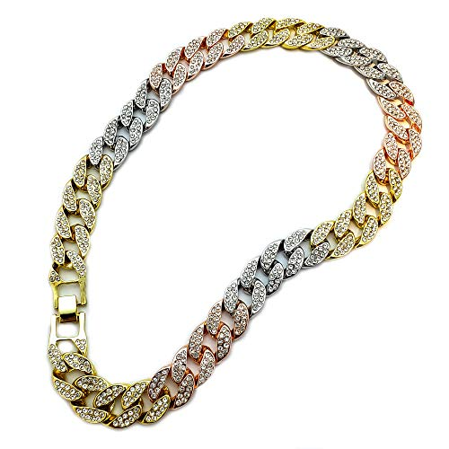 "BLINGFACTORY Hip HOP Luxury Full ICED Multi Color LAB Diamonds 15mm 18"" Cuban Link Choker Chain Necklace"