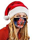 Babymomo Weihnachten Aufleuchten Mund Nasenschutz, Damen Wiederverwendbar Waschbar Mundschutz mit LED Lichter (E)