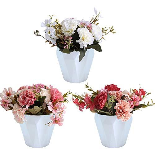 BSET BUY Künstliche Blume nelke Rose gefälschte Blumen Braut hochzeitsstrauß realistische blüte Blumen mit weizen stiel weben gemacht Korb 3 Pack für hausgarten Party Hotel büro Dekorationen