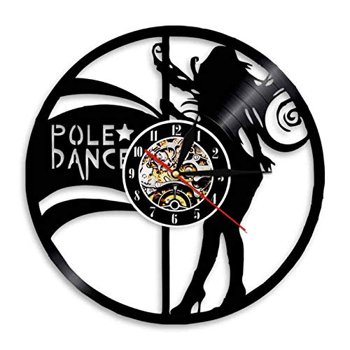XYVXJ Reloj de Pared con Disco de Vinilo de Baile en Barra para Mujer, decoración de Centro de Entretenimiento de Club Nocturno, Reloj de Pared con Bailarines de Tubo, Reloj de Pared Retro