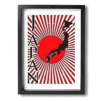 アートパネル フォトフレーム 絵画 壁掛け油彩画 光線と日本形日本国旗のイ Framed Painting 抽象画 壁の絵 壁掛け ソファの背景絵画 壁アート新築飾り 贈り物 30x40cm