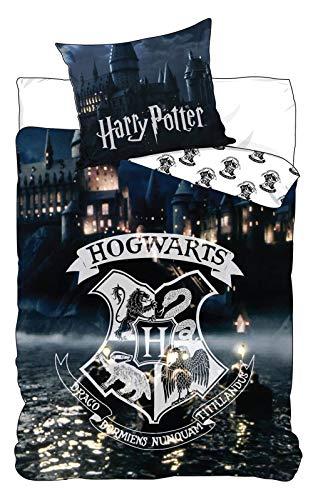 BrandMac ApS Harry Potter Hogwarts Slytherin - Juego de cama infantil (funda nórdica de 135 x 200 cm y funda de almohada de 80 x 80 cm)