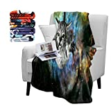 Britimes Space Cat Fuzzy Flannel Throw Blankets, Soft Blankets and Throws, Daughter Mom Friend Gift Space Cat Print, Decorative Throw Blankets for Couch, 50'X60'