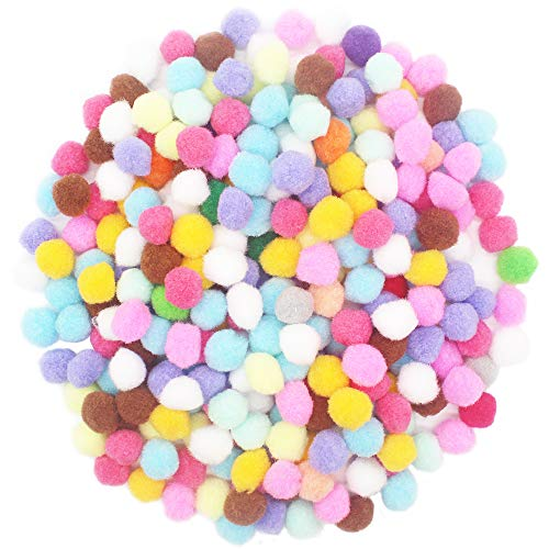 Anvin 300 Pcs 1 Inch Pompom Balls Multicolor Craft Pom Poms Fuzzy DIY Pom-pom Garland for Arts and Crafts Decorations Creative School Projects(2.5 cm in Diameter, Assorted Bright Colors)