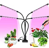 Grow Light for Indoor Plants, LAIDUOAO 4 Adjustable Goose Necks 40W 80 LED Lamps 9 Dimmable Levels Grow Light for Indoor Plants Light with Clip Growing Lamp with 3/9/12H Timer with Pruning Shears