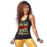 Zumba - Camiseta de Tirantes para Mujer de Baile con Estampado gráfico de Entrenamiento Activo Alto Deportivo, BB Black A, X-Small Womens