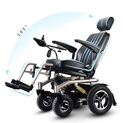 DJP Wheelchair,Electric Wheelchair Smart Travel Scooter Electric Recliner 640W High Power Motor 50A Lithium Battery