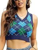 Yeokou Women's Argyle Preppy Style Plaid Sleeveless Knitted Sweater Vest Tank Top (Blue, XS)