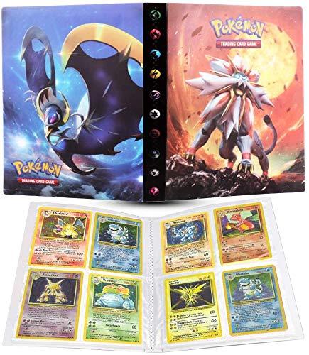 Sporgo 240 Taschen Sammelkarten Folien,Pokemon Sammelalbum Sammelkarten Leere Sammelalbum,Sammelkartenmappe Sammelheft Neutrale Sammelhüllen für eine Vielzahl von Ringbücher(Sonne&Mond)