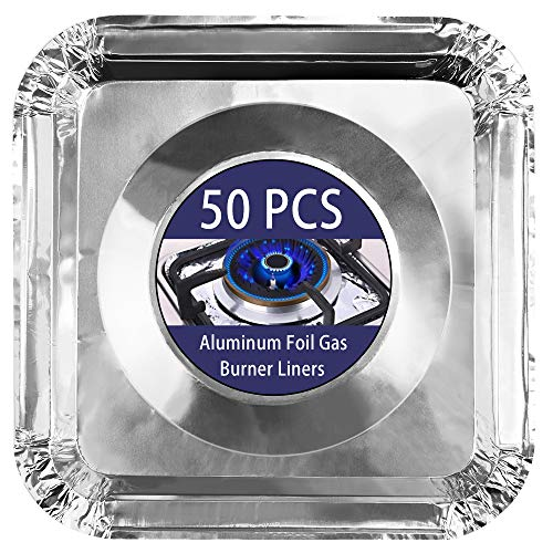 COCIDE 50 Pack Gas Burner Liners Aluminum Foil Square Stove Burner Covers Range Protectors Bib Liners Disposable Gas Burner Bibs Gas Top Liner Stove Aluminum Foil Drip Pans Easy Clean - (8.5 Square)