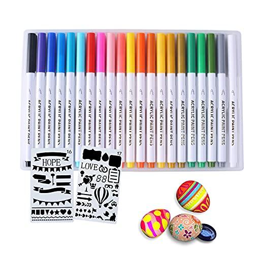Gozlu 21 Colores Rotuladores Acrílicos, 1-2 mm Rotuladores Permanentes de Graffiti de Cómics creativos, Utilizados para Pintar Piedras, Tela, Ceramica, Vidrio, Madera, Huevos de Pascua, DIY
