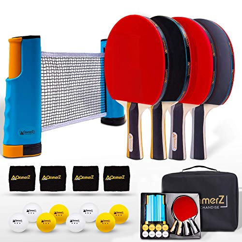 Portable Ping Pong Paddle Table Tennis Set with Ping Pong Net amp Ping Pong Table Accessories  4 Table Tennis Racket 8 Balls 4 Sweatband 1 Ping Pong Table Net with Carrying Case