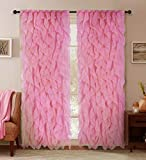 Sapphire Home 2 Cascade Curtain Panels, Pink Ruffle 63' Curtain Panels, Sheer Voile Vertical Ruffled Curtain Panels, Cascade 63' Pink
