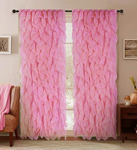 "Sapphire Home 2 Cascade Curtain Panels, Pink Ruffle 84"" Curtain Panels, Sheer Voile Vertical Ruffled Curtain Panels, Cascade 84"" Pink"