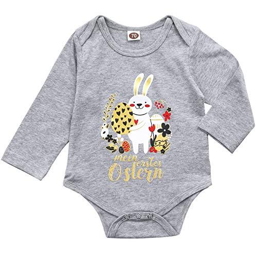 AGQT Baby Jungen Ostern Strampler Baby Bunny Ei Bodysuit Mein erstes Ostern Kleinkind Bodysuit Outfit Grau 3-6 Monate