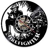 TJIAXU Vinyle Horloge Murale Pompier Horloge Murale Pompier personnalisé Vinyle Musique Record Horloge Pompier Camion Cloche Pompiers tenture Murale décoration Pompier Cadeau