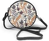 BAODANLA Bolso redondo mujer Autumn Wild Floral Seamless Pattern Women Soft Leather Round Shoulder Bag Zipper Circle Purses Sling Bag