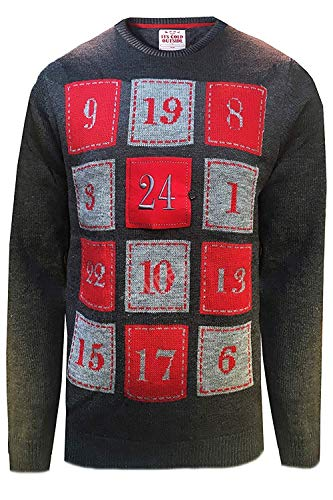 Volwassenen Threadbare Kerstmis Light Up Adventskalender Ontwerper Jumper