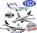 Daron American Airlines, Delta & United Airlines B747 Die-cast Planes 'Matty's Toy Stop' Exclusive Gift Set Bundle - 3 Pack