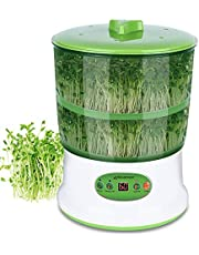 Moistenland Bean Sprouts Machine, Automatic Seeds Sprouter, 2-Layer Germination Trays, LED Display Time Control, Automatic Watering