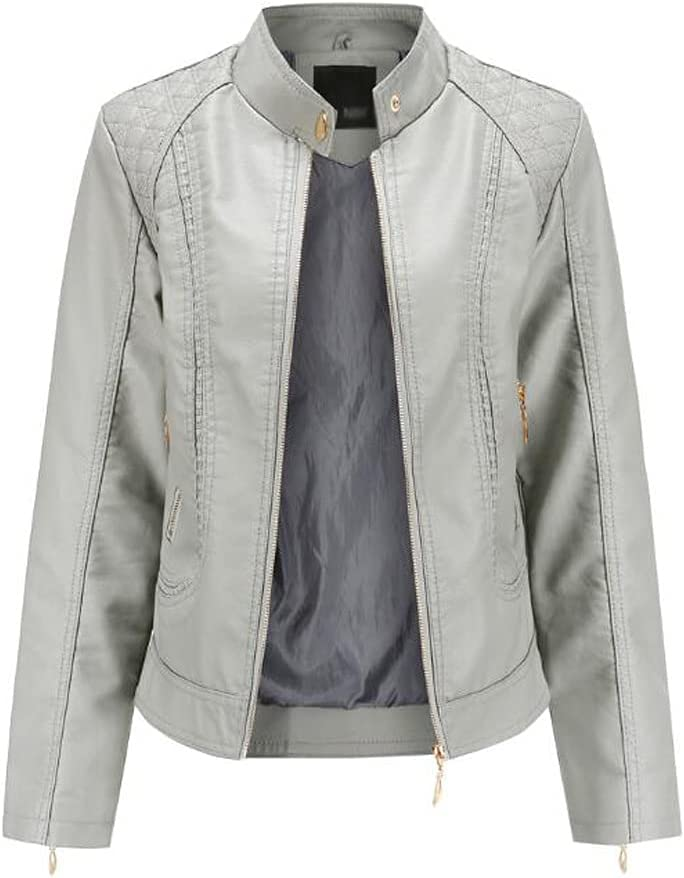 GELTDN Spring and Autumn Women's Leather Jackets European and American Large Size Stand-up Collar PU Jacket Women's Leather Jackets (Color : Gray, Size : L Code)