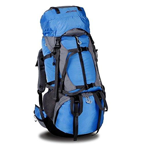 Zaino da Escursionismo,Archeer 65L Zaino da Trekking Borsa Outdoor Impermeabile con Copertura Custodia Protezione ad Alta Capacità 55L+10L Borsa per Viaggio Multifunzione Ideale per Camping Alpinismo Arrampicata Equitazione Viaggio ,Blue