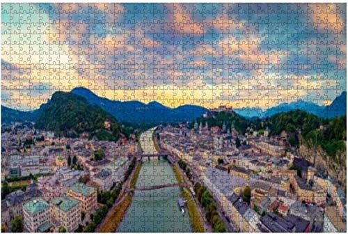 Rompecabezas del horizonte de Salzburgo con Festung Hohensalzburg Austria para niños y adultos Juego educativo Rompecabezas Juguetes DIY, 500 piezas 52 * 38 cm