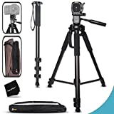 Durable Pro Grade 75 inch Tripod + 72 inch Pro Monopod W/ Convenient Backpack style Carrying Case for Nikon D500, D7200, D7100, D750, D5300, D5200, D5100, D3300, D3200, D3100 D810A, D810, D800, D610, D600, D4S, D3s, D3x DSLR Cameras