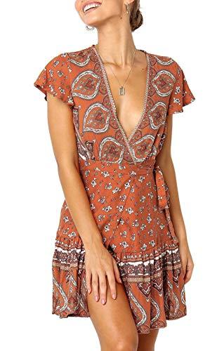 ZESICA Women's Summer Wrap V Neck Bohemian Floral Print Ruffle Swing A Line Beach Mini Dress Tangerine