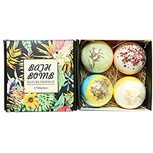 Bath Bombs Gift Set 4, Rosemary & rose & heather & jasmine Dry Skin Moisturize, Perfect for Bubble & Spa Bath. Handmade Birthday Mothers day Gifts idea For Her/Him, wife, girlfriend:Viralbuzz